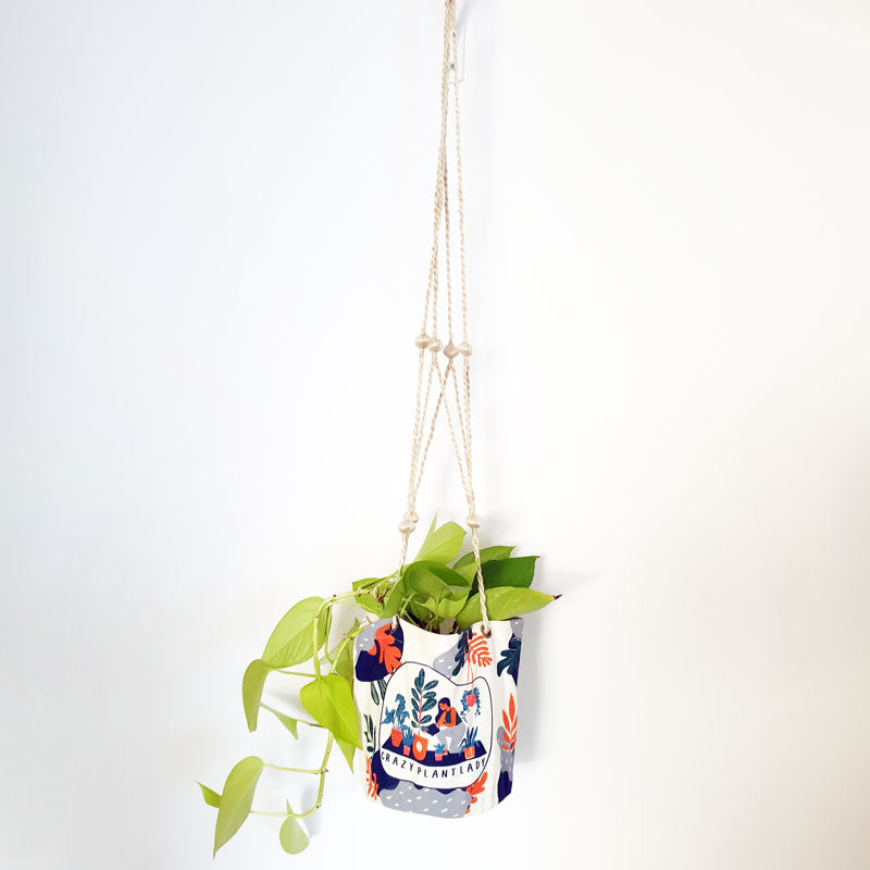 Crazy Plant Lady Hanging Canvas Planter