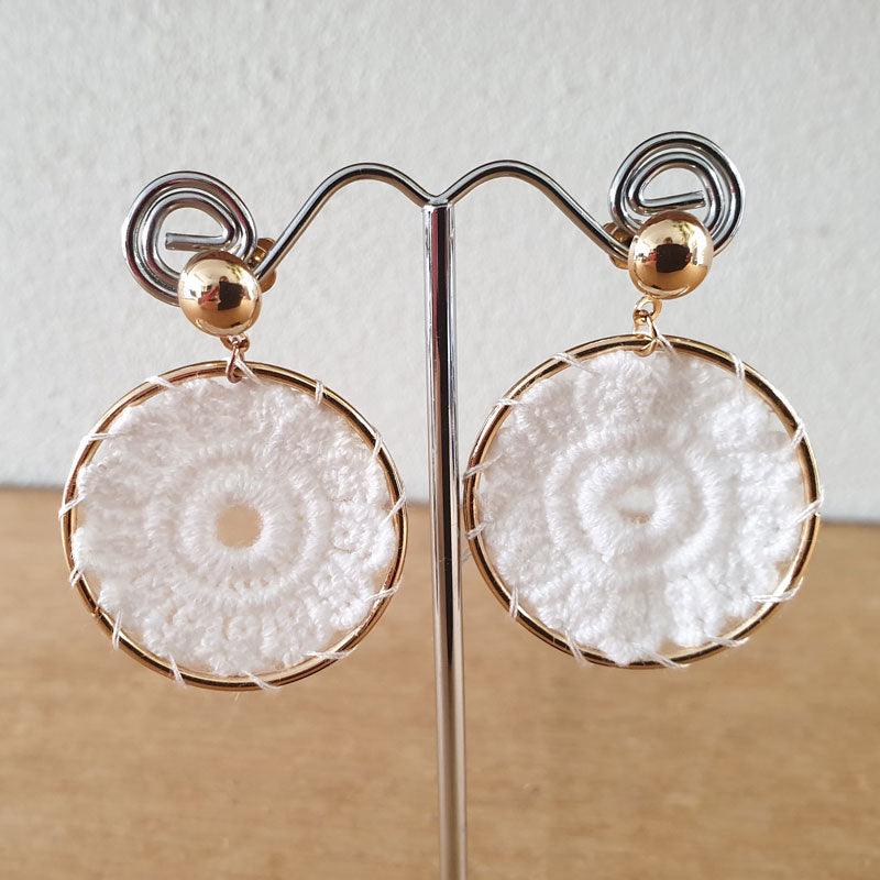 Cream Boho Circle Earrings - The Chic Nest