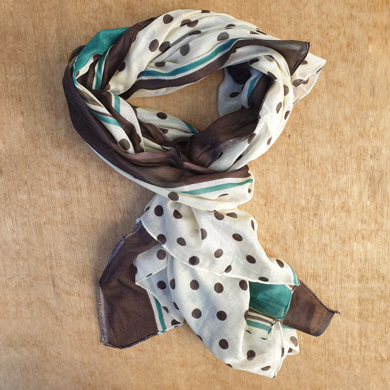 Polka Dot Scarf With Mint & Brown Edge