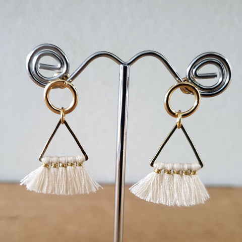 Cream Triangle Tassel Earrings - The Chic Nest