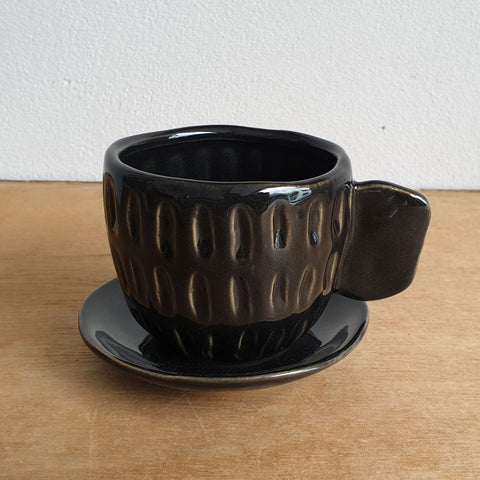Cup And Saucer Tea Party Planter - Black - The Chic Nest