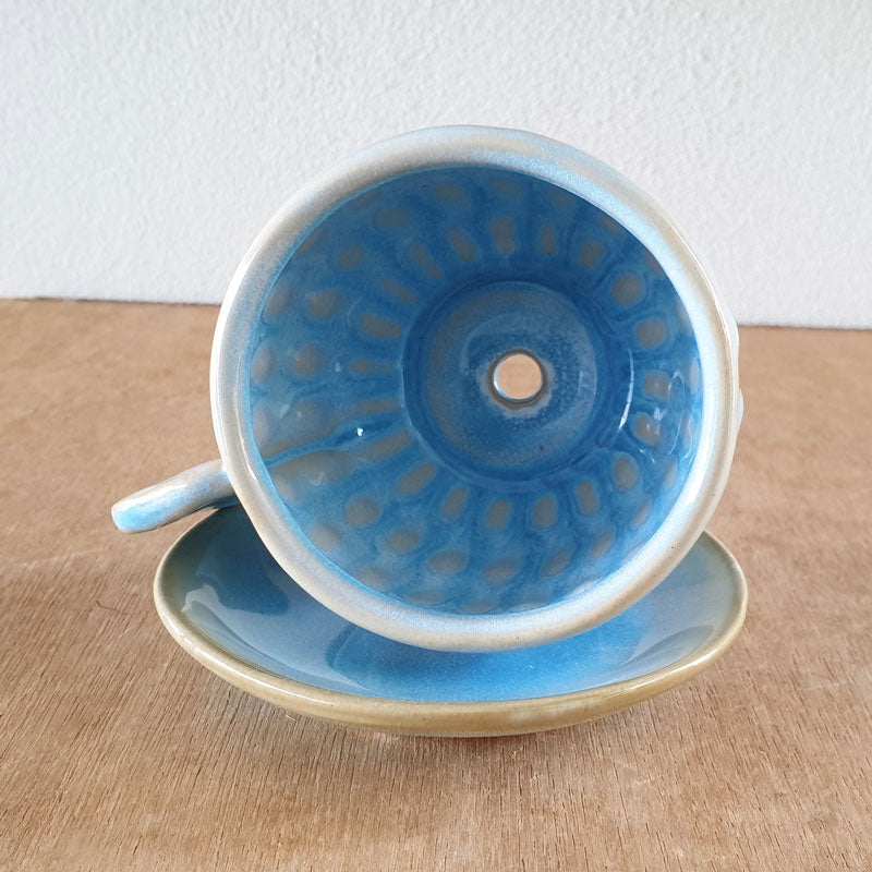 Cup And Saucer Tea Party Planter - Blue - The Chic Nest