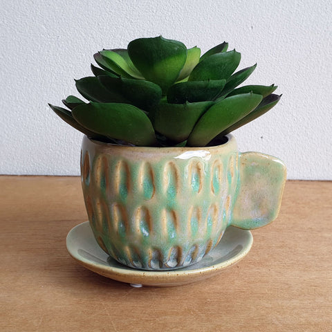 Cup And Saucer Tea Party Planter - Green - The Chic Nest