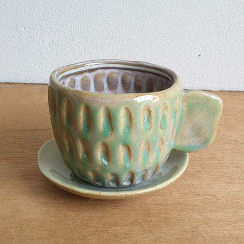 Cup And Saucer Tea Party Planter - Green