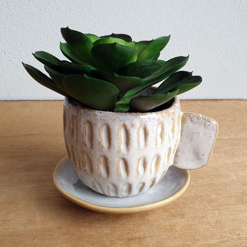 Cup And Saucer Tea Party Planter - White - The Chic Nest