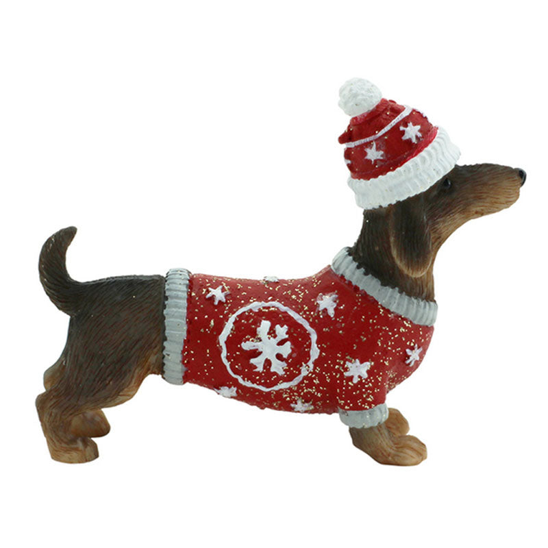 Dachshund Christmas Figurine - Red - The Chic Nest