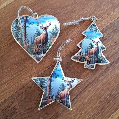 Deer In Wood Christmas Heart Ornament
