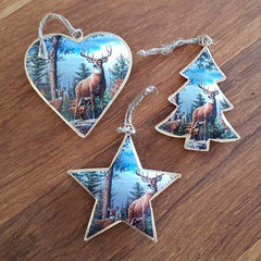 Deer In Wood Christmas Heart Ornament - The Chic Nest