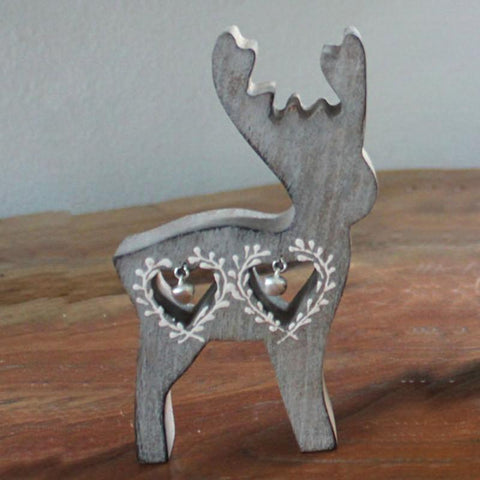 Wooden Reindeer With Bells - The Chic Nest
