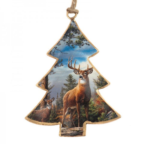 Deer In Wood Christmas Tree Ornament