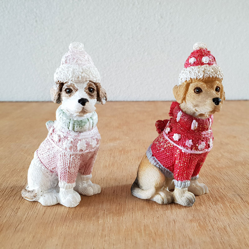 Dog Christmas Figurine - Pink - The Chic Nest