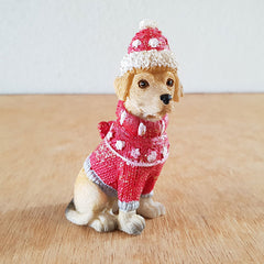 Dog Christmas Figurine - Red - The Chic Nest