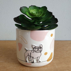 Dog Linear Drawing Ceramic Planter Pot - The Chic Nest