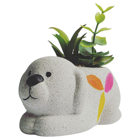 Ceramic Dog Planter With Succulents