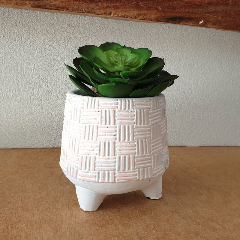 Pink Dash and Dot Planter On Legs