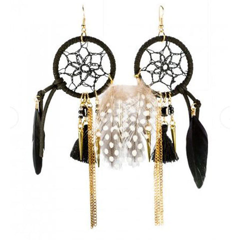 Dreamcatcher Black Earrings - The Chic Nest