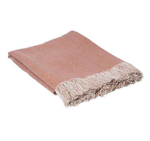Dusty Pink Tassled Throw - The Chic Nest
