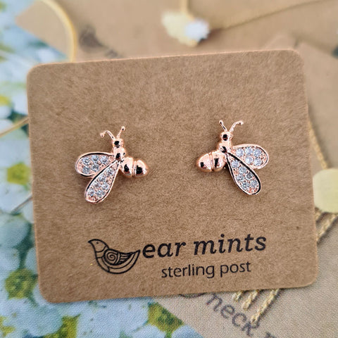 Bee Ear Mints Earrings - Rose Gold With Cubic Zirconia