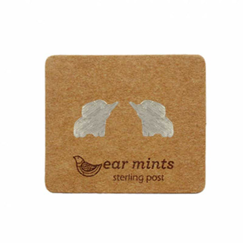 Brushed Metal Elephant Ear Mints Earrings - Silver