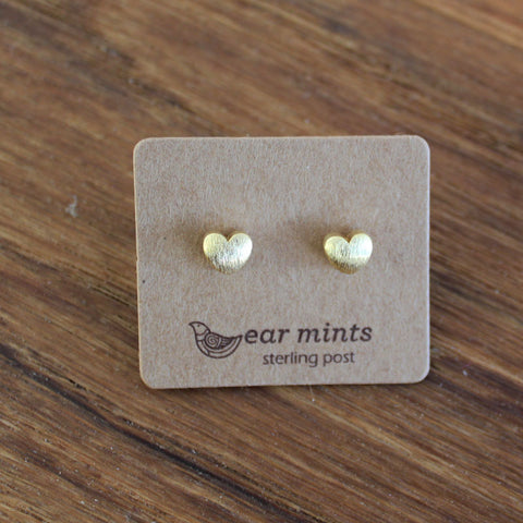 Brushed Metal Puffed Heart Ear Mints Earrings - Gold