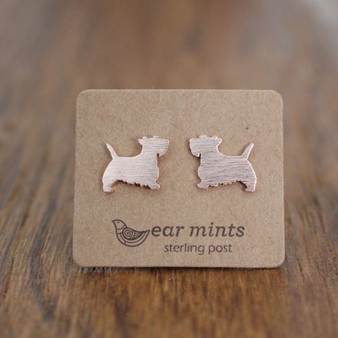Brushed Metal Scotty Dog Ear Mints Earrings - Rose Gold