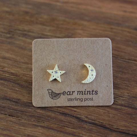 Brushed Metal Moon & Star Ear Mints Earrings - Gold