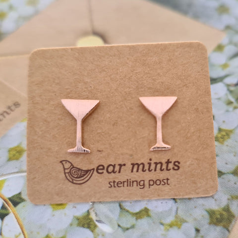 Martini Cocktail Glass Ear Mints Earrings - Rose Gold