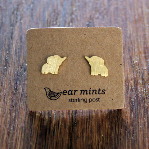 Brushed Metal Elephant Ear Mints Earrings - Gold