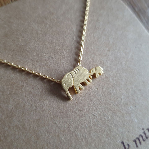 Elephant Mum and Baby Necklace Gold - Neck Mints