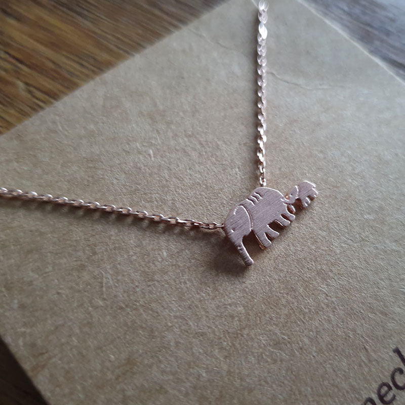 Elephant Mum and Baby Necklace Rose Gold - Neck Mints