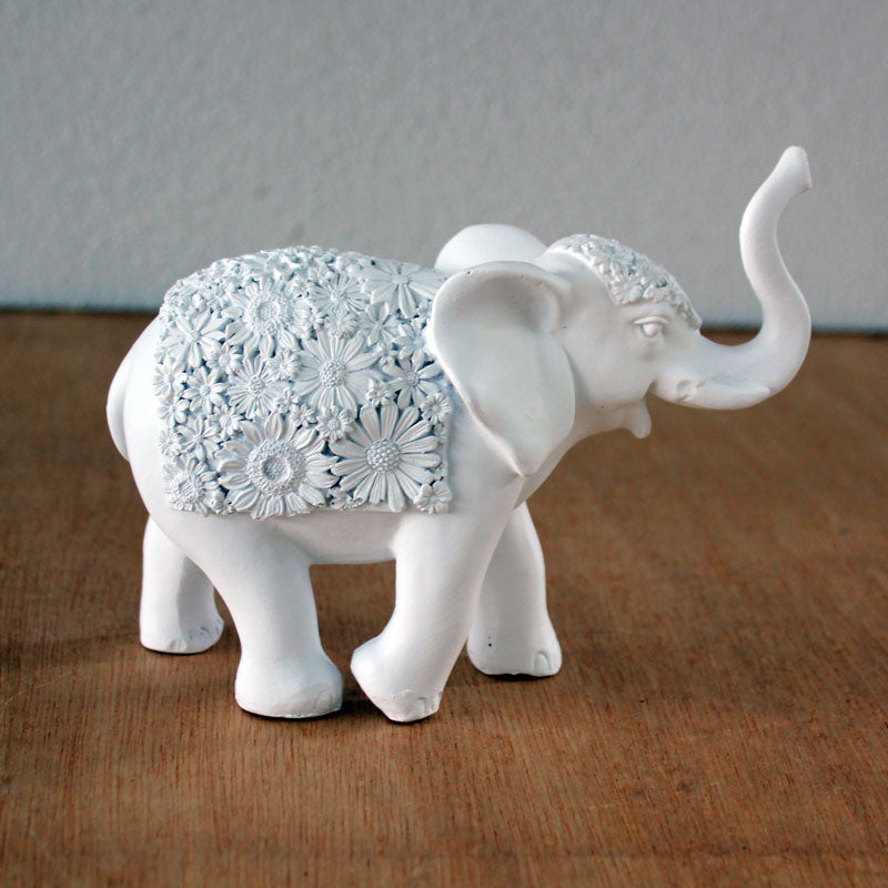 Elephant With Flowers White- Small - The Chic Nest