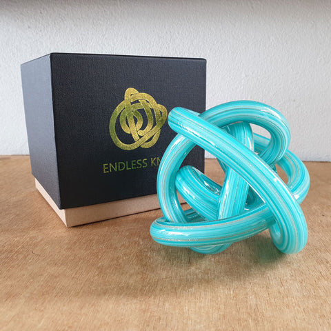 Endless Knot Bright Aqua Gold Shimmer