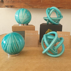 Endless Knot Bright Aqua Gold Shimmer - The Chic Nest
