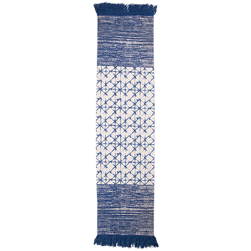 Blue Patterned Table Runner - Handcrafted