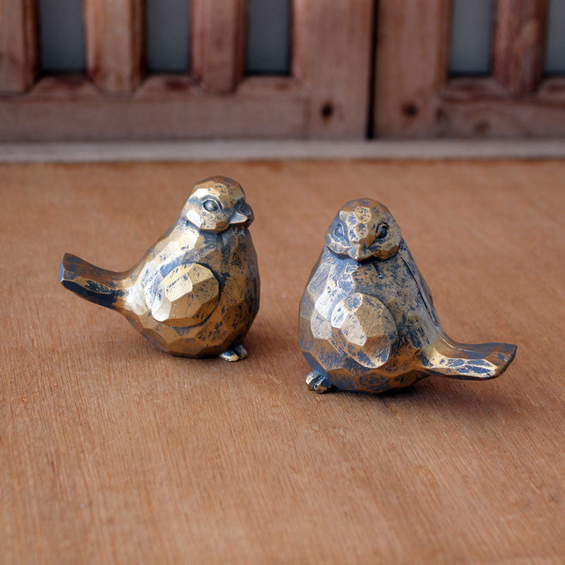Faceted Bird Gold & Grey Set of 2 - The Chic Nest