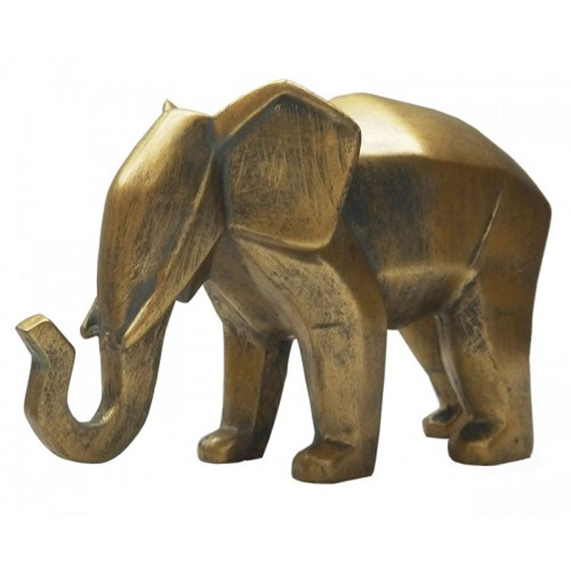 Faceted Gold Elephant 15cm - The Chic Nest