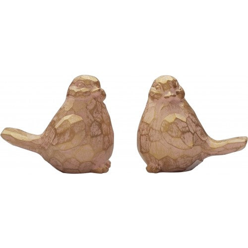 Faceted Bird Pink & Gold Set of 2 - The Chic Nest