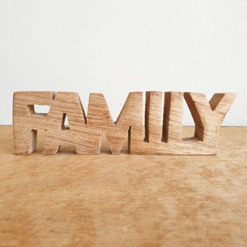 Family Wooden Word Sign - Natural