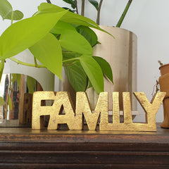Family Wooden Word Sign - Gold