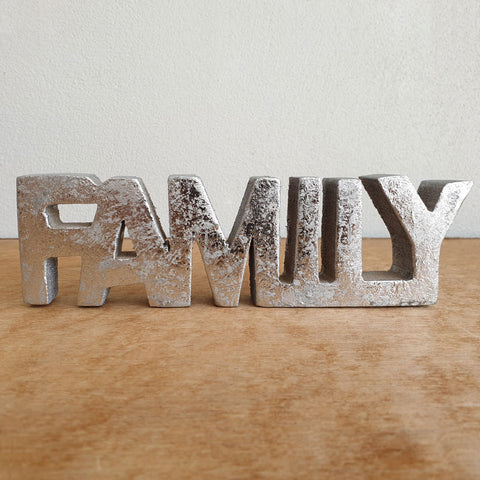 Family Wooden Word Sign - Silver