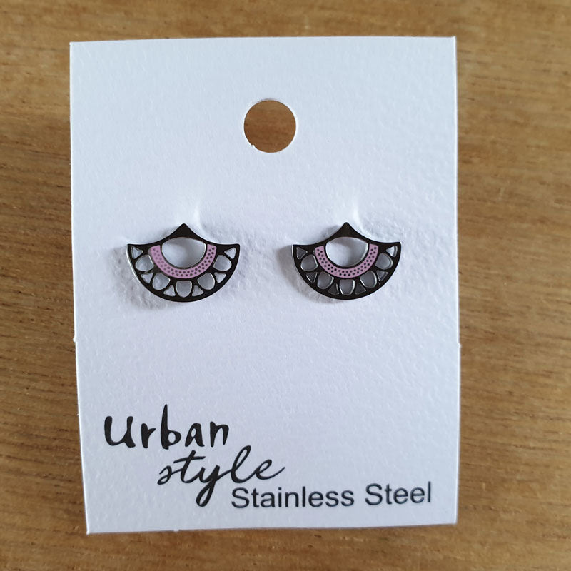 Fan Stud Earrings - Pink and Silver - The Chic Nest