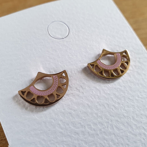 Fan Stud Earrings - Pink and Rose Gold - The Chic Nest