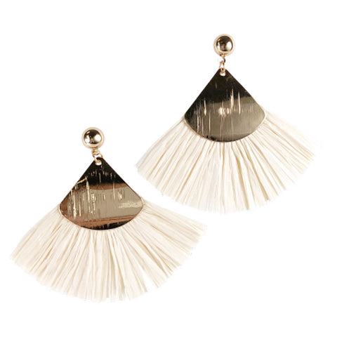 Fan Stroke Earrings - Cream - The Chic Nest