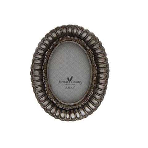 Fanned Oval Frame Pewter Finish - Small - The Chic Nest