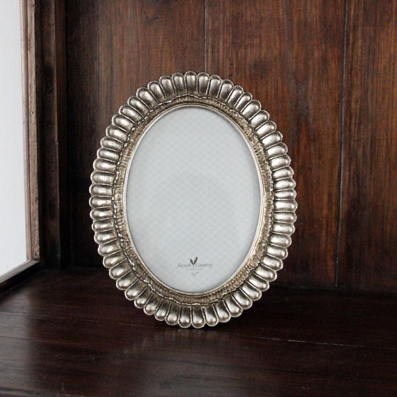 Fanned Oval Frame Pewter Finish - Large - The Chic Nest