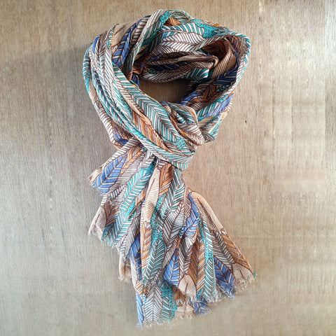 Feather Design Cotton Scarf