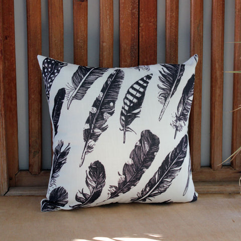 Feather Cushion - Black & White - The Chic Nest