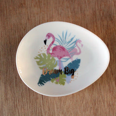 "Flamingo Trinket Dish ""Dream Big"" - The Chic Nest"