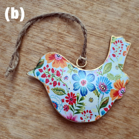 Floral Metal Bird Ornament