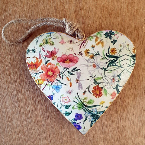Floral Metal Heart Ornament - Extra Large - The Chic Nest